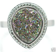 Solid 925 Sterling Silver Multicolor Pear Shape Druzy Cocktail Ring Size 6 '