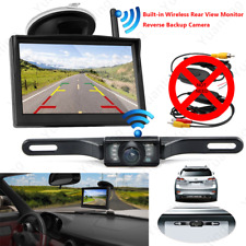 "170° License Plate Backup Camera Built-in Wireless Car 5"" LCD Rear View Monitor"