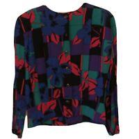 VTG 80's 90's Christian Dior Separates Blouse Top Color Block Floral Pattern 6