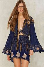 NWT $158 Nasty Gal Collection Bead Your Love Scalloped Skirt Size M Navy