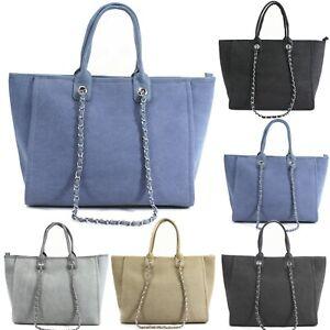 Women's Canvas Tote Bag Ladies Shoulder Strap Evening Fashion Work Handbag