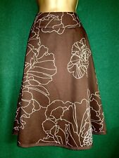 New COAST Uk 10 Brown & Pale Green Cotton Floral A-Line Midi SKIRT - Gorgeous!