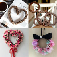 Rattan Ring Wreath Garland Heart Hanging Wedding Christmas Party Home DIY Decor