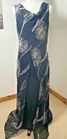Wallis Black & White Size 14 Floral Chiffon Maxi Dress Layered Floaty Wedding