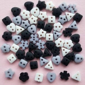 BLACK WHITE GREY Tiny Sew Thru Shapes Quilting Sewing Dress It Up Craft Buttons