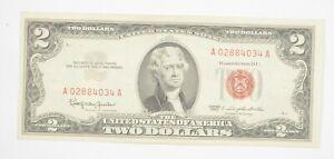 1963 $2 United States Note   UNC   Legal Tender   Red Seal Crisp & Original *306