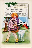 Whitney Easter~LITTLE GIRL IN PINK DRESS w/ ROSES LEADS ADORABLE LAMB~Postcard