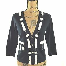 Per Se Small Silk bl cardigan white black fringe little pocket knit sweater top