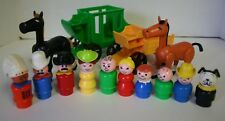 VTG Little People Western Town Figurines Wagons Horses Cowboy Indian