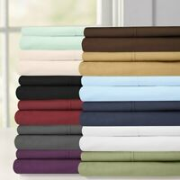 Attached Wrinkle-Free Waterbed Solid Sheet Set Fitted + Flat Sheets+ Pillowcases