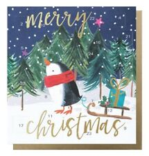 Merry Christmas Penguin Wearing a Scarf Advent Calendar Card With Gold Envelope