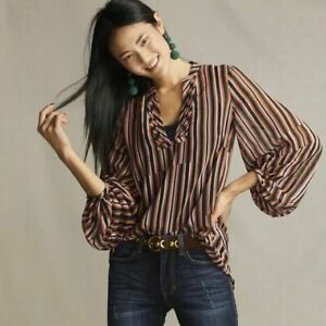 Cabi Striped Semi Sheer Ultimate Balloon Sleeve Blouse Top Size S