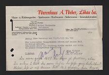 LÖBAU, Brief 1939, Warenhaus A. Weber Haus-Küchengeräte Spielwaren Korbwaren