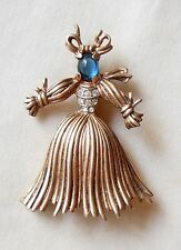 Crown Trifari Alfred Philippe Sterling Silver Rag Straw Doll Blue Cab Brooch