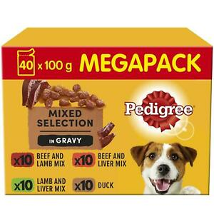 40 x 100g Pedigree Adult Dog Food Pouches Mixed Varieties in Gravy