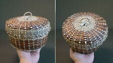 Beautiful Old Native American Penobscot Basket with Lid
