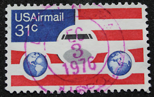 Stamp 31 Cent USA Airmail Mail Air 1976, Postmark Dated And Centering