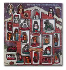 Holzanhänger 24 Figuren Weihnachtsbaum-Schmuck Holz XXL Geschenkbox handbemalt