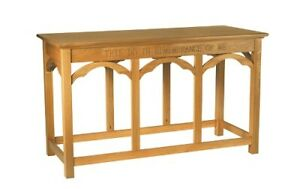 Hardwood Communion Table Medium Oak Stain This Do In Remembrance of Me