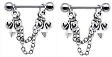 Body Accentz® Nipple Ring Fleur De Lise bar body Jewelry sold as Pair 14g CZ