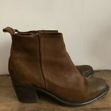 DIESEL PINKY BOOTS UK SIZE 6 39 BROWN DISTRESSED OILED SUEDE ANKLE BOOTS