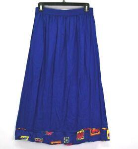 Paradiso Women Petite PM Elastic Waist Summer Pull On Skirt Floral Cobalt Blue