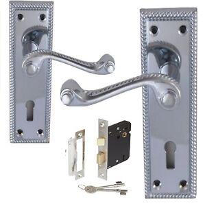 CLASSIC GEORGIAN ROPE EDGE SCROLL LEVER LOCK DOOR HANDLES WITH LOCK Var D1