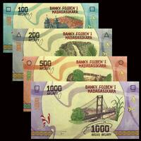 Madagascar Set 4 PCS, 100 200 500 1000 Ariary, 2017, P-97 98 99 100, UNC
