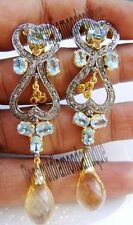 ANTIQUE VINTAGE STYLE 1.84ct ROSE CUT DIAMOND SILVER TOPAZ DANGLE PARTY EARRINGS