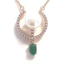 White Akoya Pearl Pendant Diamond Emerald Necklace14K Gold Plated Women Jewelry