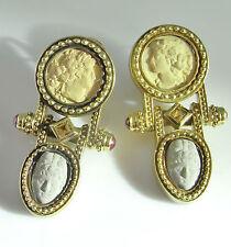 R1899 Lava Cameo Earrings Italian Drop Statement 1980s Jewelry Ruby Etruscan