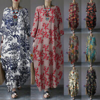 ZANZEA 8-24 Women Spring Floral Dress Loose Baggy Oversized Maxi Kaftan Abaya