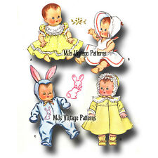 """Vtg 1950s Baby Doll Clothes Dress Pattern ~ 16"""" Tiny Tears, Dy Dee, Betsy Wetsy"""
