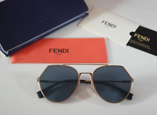 Fendi Eyeline FF 0194/S-000-2A Aviator Sunglasses Rose Gold/Blue Mirror Lens