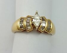 Exquisite 14K Karat Solid Yellow Gold Designer Ring with Cluster of Diamonds