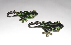 Brass Frog Hook Pair Of Wall Hooks Toad Design Vintage Style Key Holder EK476