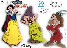 Snow White Dopey Dwarf Figurine vinyl magnet + Grumpy Keyring Disney Applause