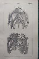 1850 Antik Gothic Architecture Aufdruck Vault Frühe Salisbury Westminster