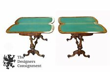 19th C. Antique Carved Walnut Burl Parlor Game Tables Victorian Marquetry Card