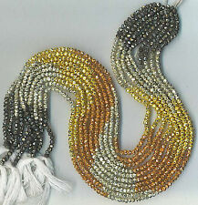 """13"""" 3.5MM FACETED MULTI COATED PYRITE RONDELLE BEADS"""