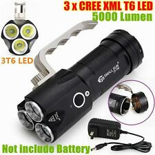 5000 Lumen 3x CREE XM-L T6 LED TACTICAL POLICE FLASHLIGHT HAND LAMP + AC CHARGER