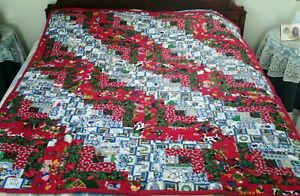 """52"""" x 64"""" Large - Christmas Red and Blue - Quilt/Throw (Cotton/Flannel) New"""
