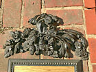 "16"" English Antique Floral Solid Wood Pediment/Crest 1832 Grinling Gibbons style"
