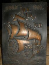 Vintage , Old Bronze Ship Plaque