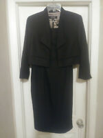 Kasper: Women's Black 2 Piece Sleeveless Sheath Dress & Collar Jacket Size 10
