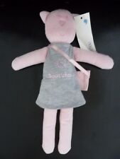 A7- DOUDOU PELUCHE BOUT'CHOU CHAT ROSE ROBE GRIS SAC CULOTTE 30 CMS - NEUF