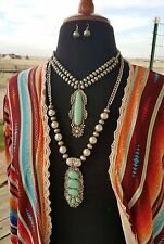 COWGIRL GYPSY Southwest Silver Native style Faux Turquoise Western NECKLACE SET