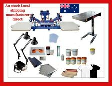 Micro Adjustable 4 Color 2 Station Silk Screen Printing T-shirt Press Kit A