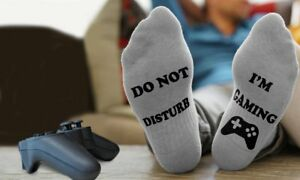 UK Unisex Novelty Funny Sport Socks DO NOT DISTURB I'M GAMING Gift For boyfriend