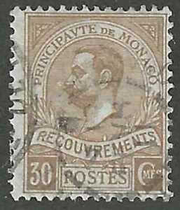 Monaco, 1910,  Scott #J18, 30c bister, Prince Albert I, Used, Fine-Very Fine